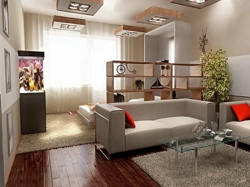Гостиная 20 кв.м разделенная на функциональные зоны