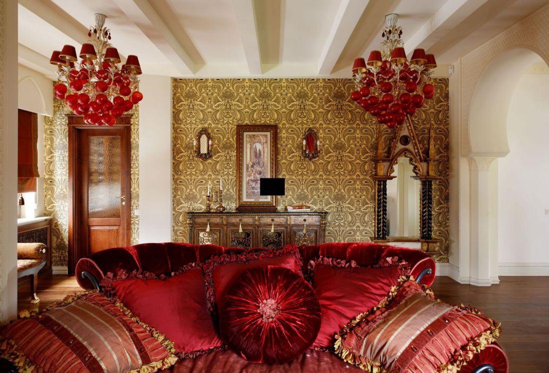 Гостиная 20 кв.м с восточным текстилем