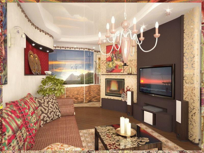 Гостинная 15 кв.м в восточном стиле