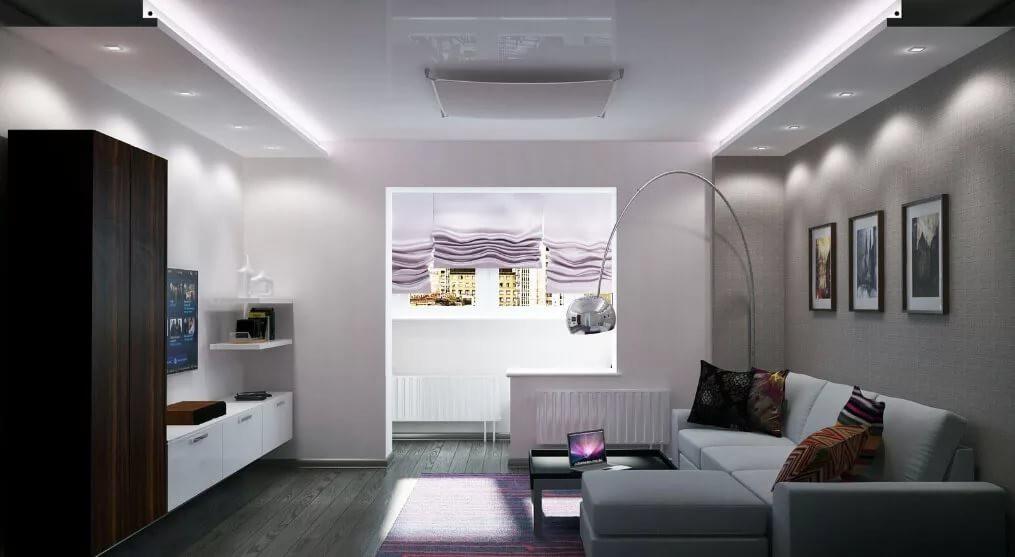 Гостинная 15 кв.м в стиле Хай-тек