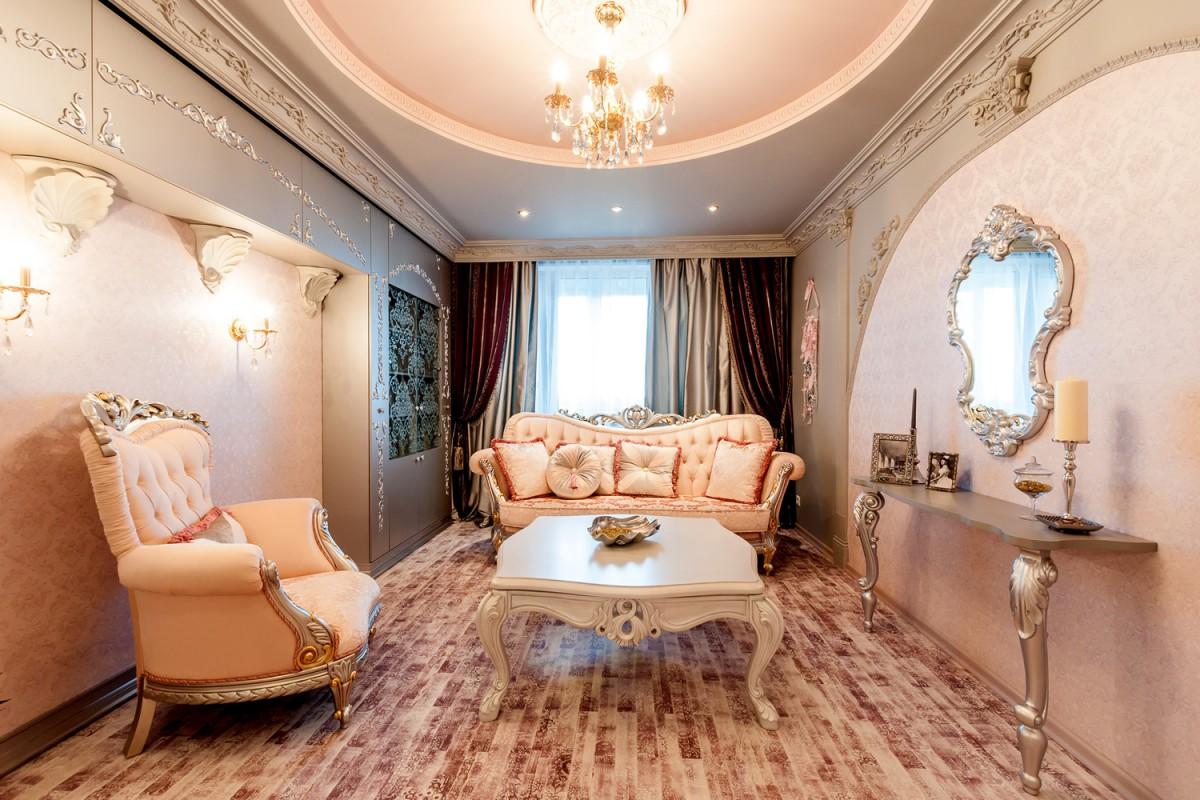 Гостинная 15 кв.м в цветовом стиле рококо