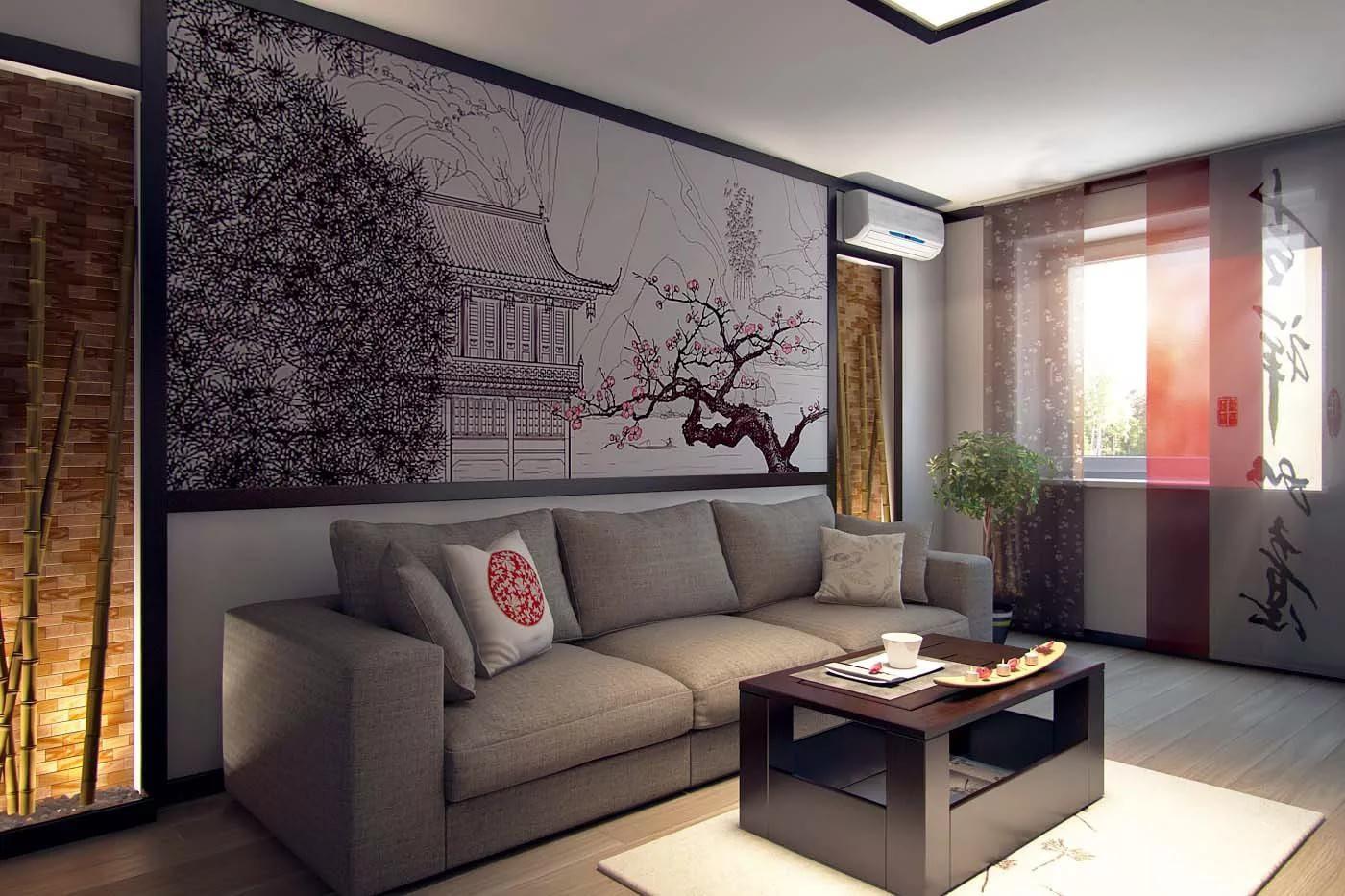 Гостинная 15 кв.м в японском стиле