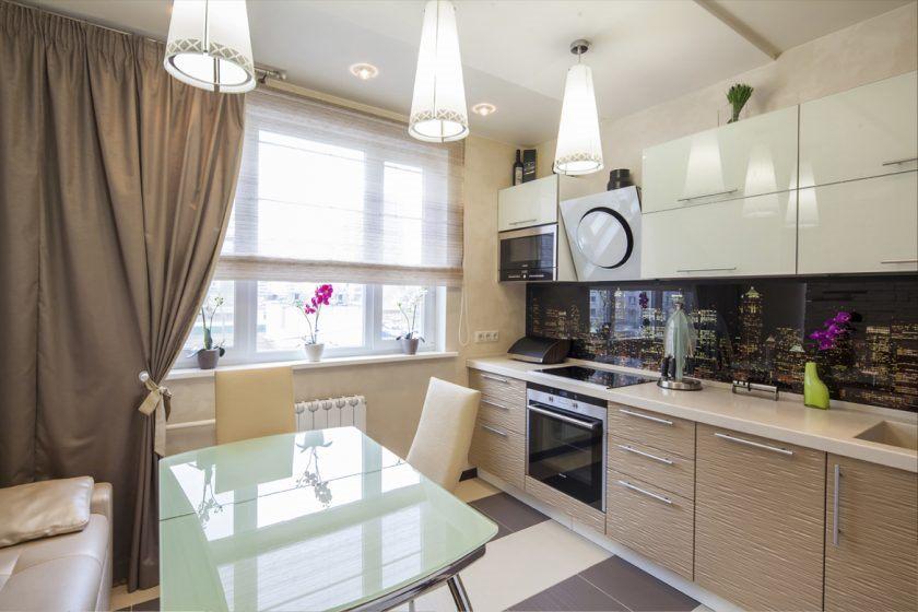 Двухцветная мебель для кухни