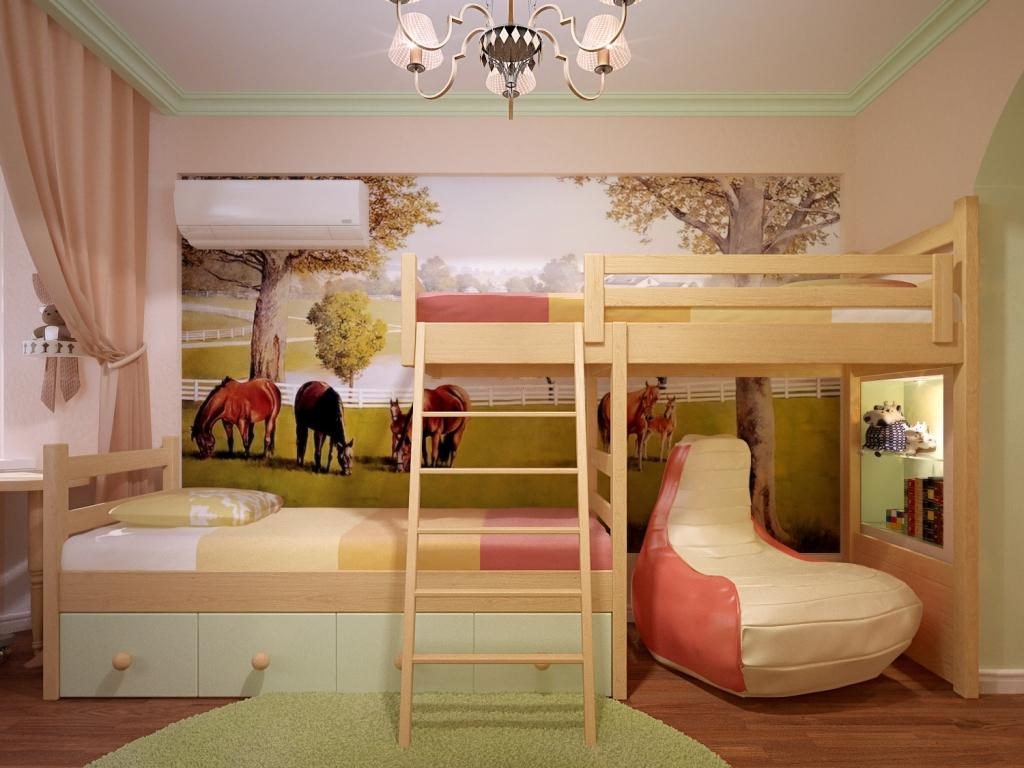 Двухярусные кровати для детей в однокомнатной квартире