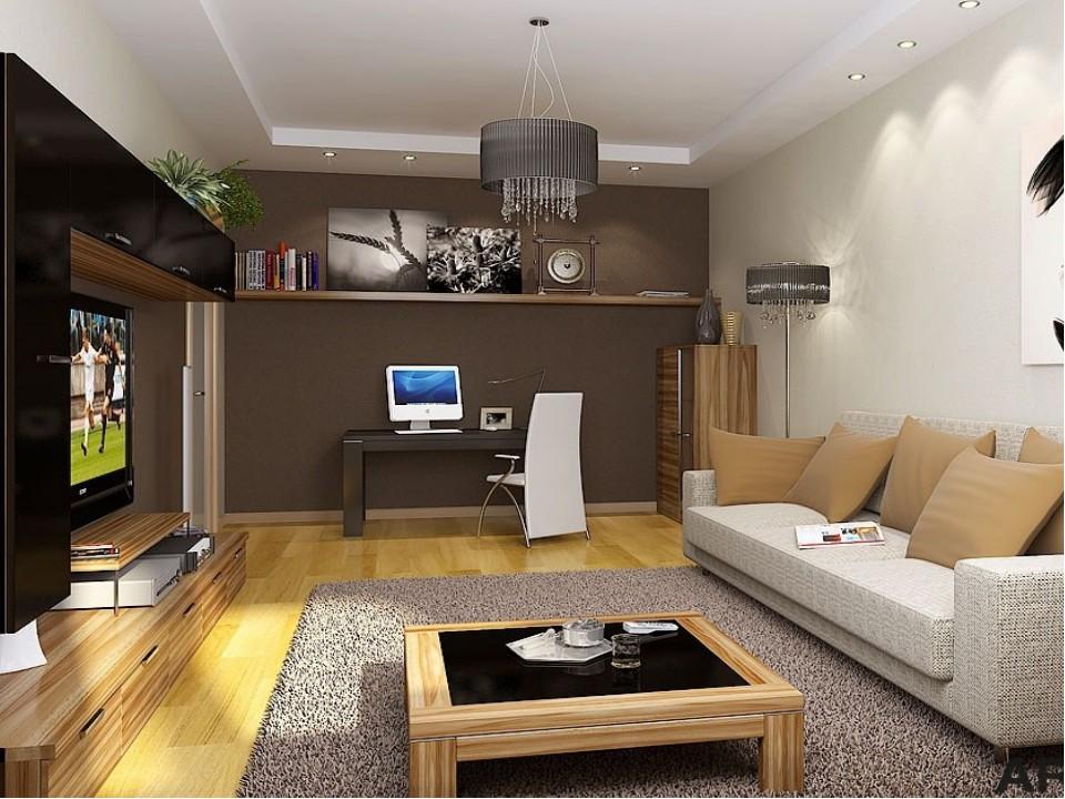Двухярусный потолок в гостиной 18 кв.м