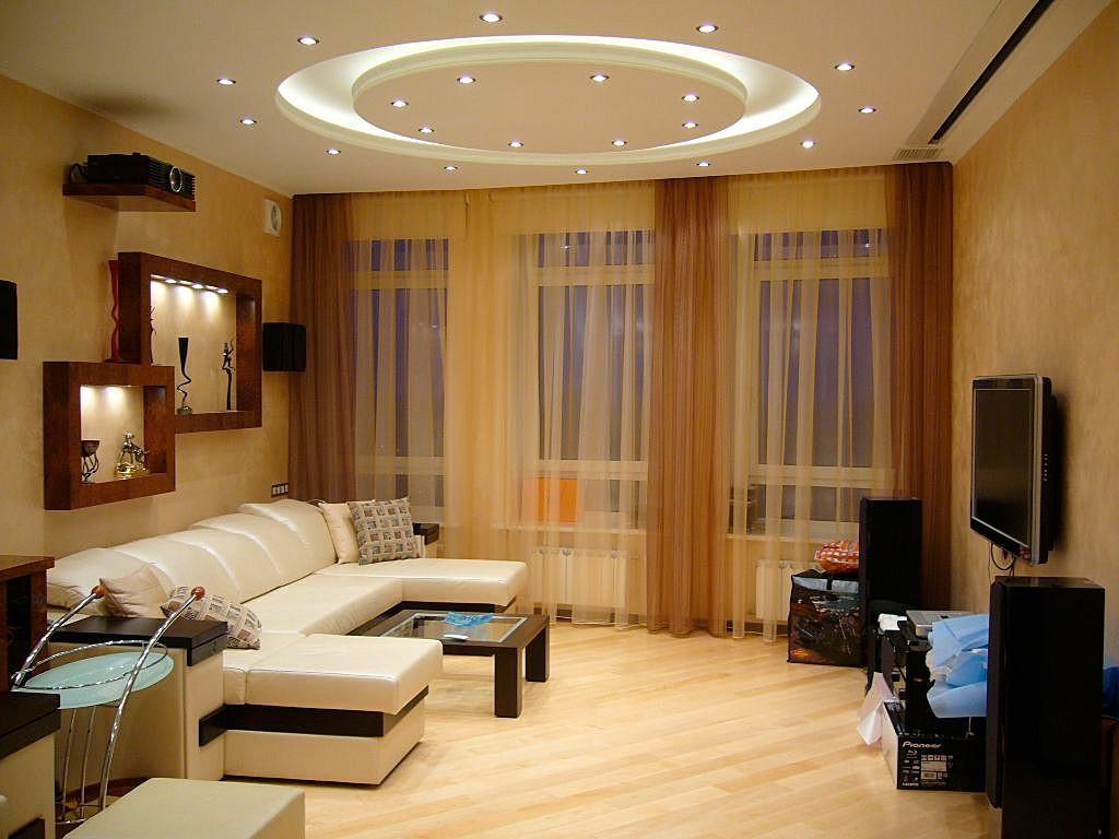 Декоративное освещение в гостиной 18 кв.м