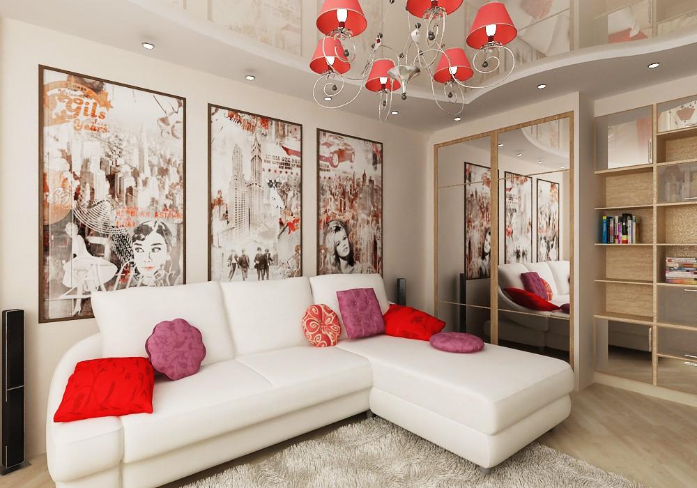 Декорирование поверхностей в гостиной 18 кв.м