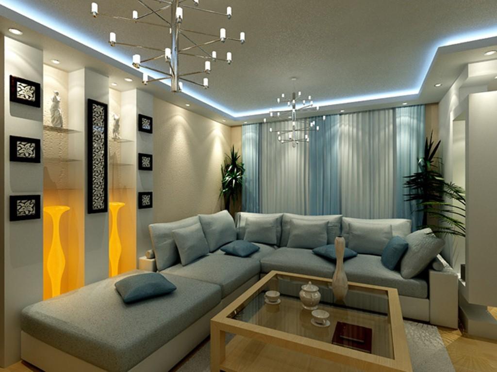 Диванная зона в квартире в новостройке