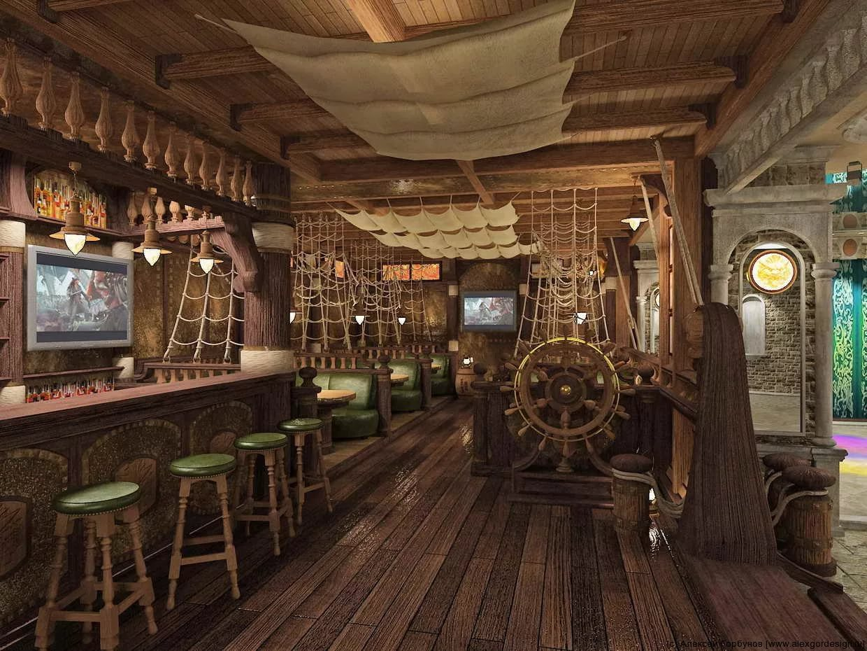 Дизайн бара - палуба старинного корабля
