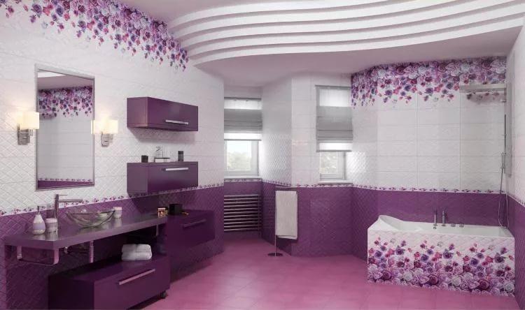 Дизайн ванной в филолетовых тонах