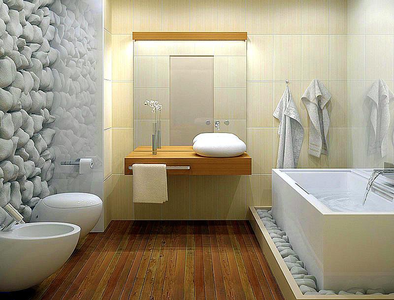 Дизайн ванной комнаты с искуственным камнем