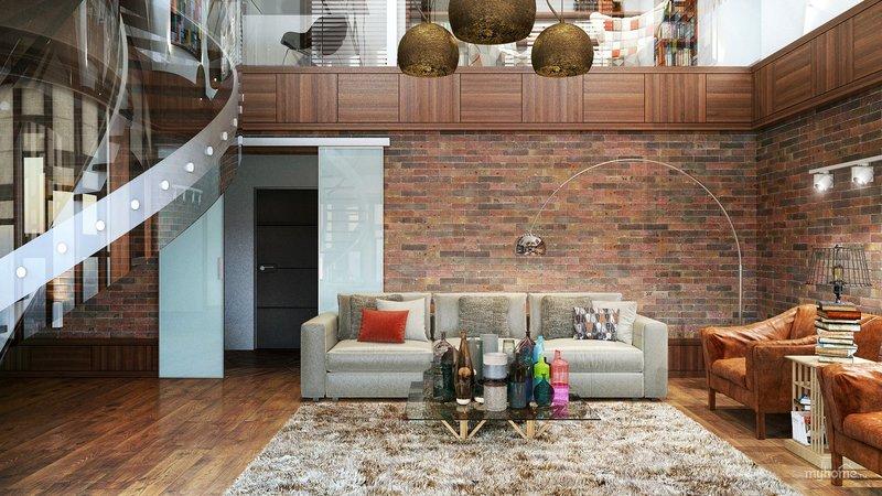 Дизайн гостинной двухуровневой квартиры в стиле лофт