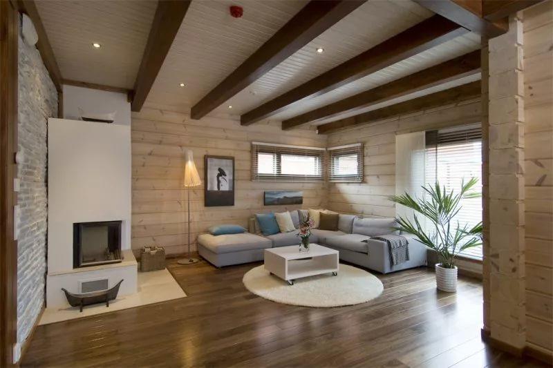 Дизайн гостиной деревянного дома