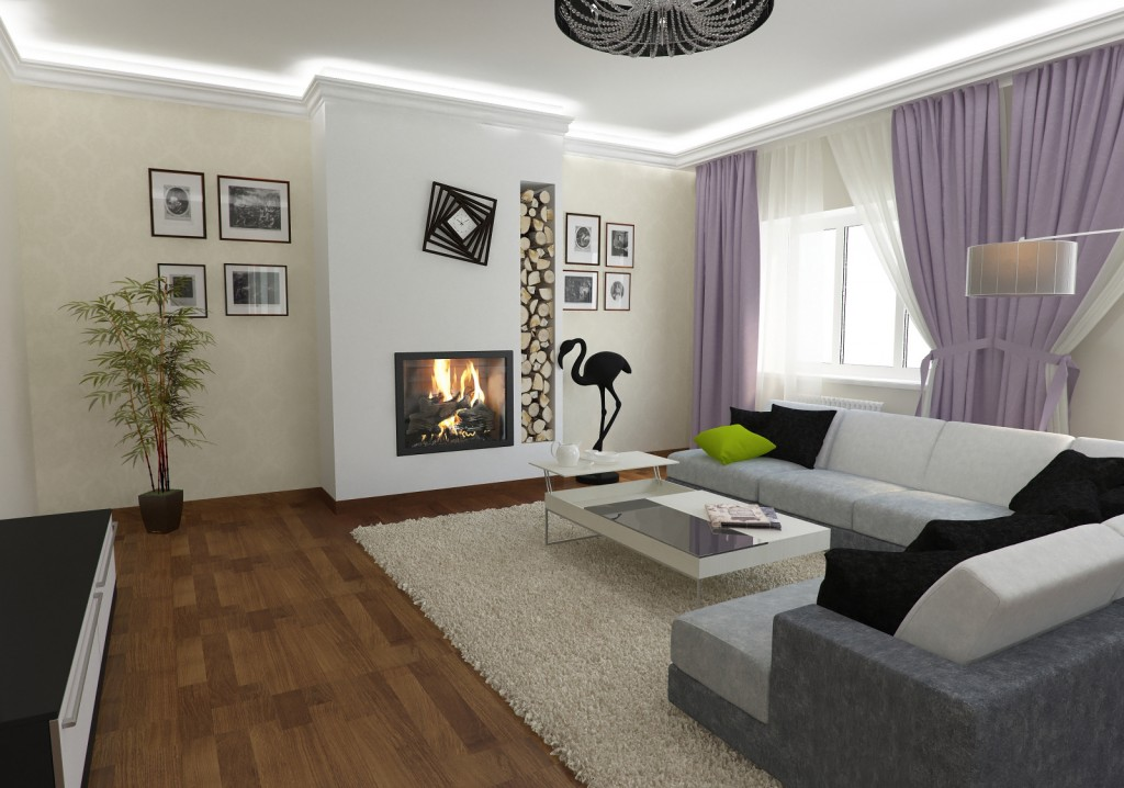 Дизайн гостинной котеджа в светлых тонах