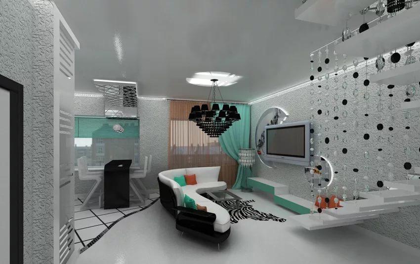 Дизайн двухуровневой квартиры в стиле хай-тек