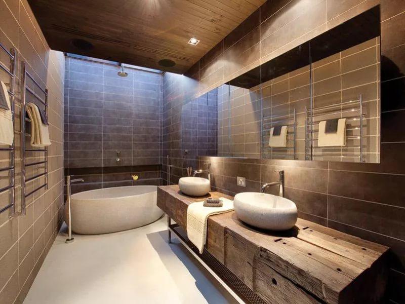 Дизайн интерьера ванной в деревенском стиле