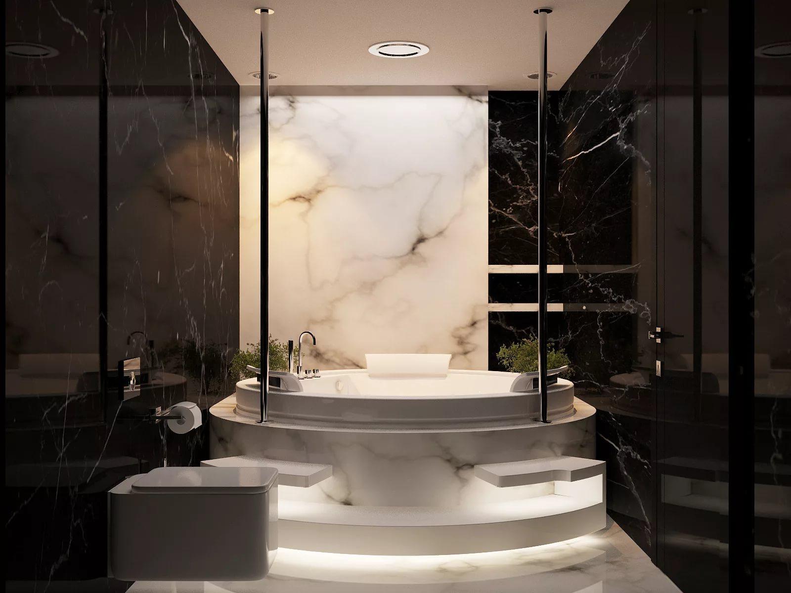 Дизайн интерьера ванной из мрамора