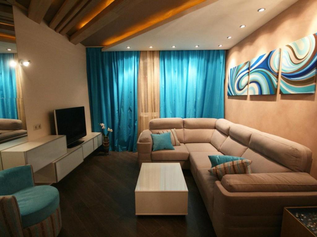 Дизайн интерьера гостиной 18 кв. м с мягкой мебелью
