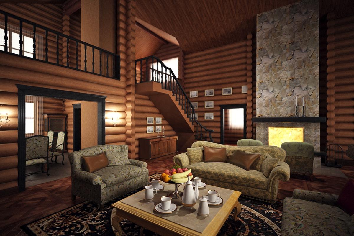 Дизайн интерьера котеджа из дерева