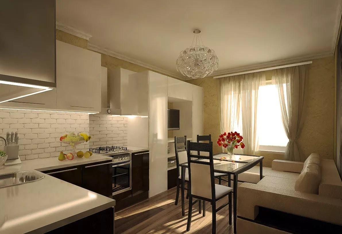 Дизайн интерьера кухни-гостиной 15 кв. м