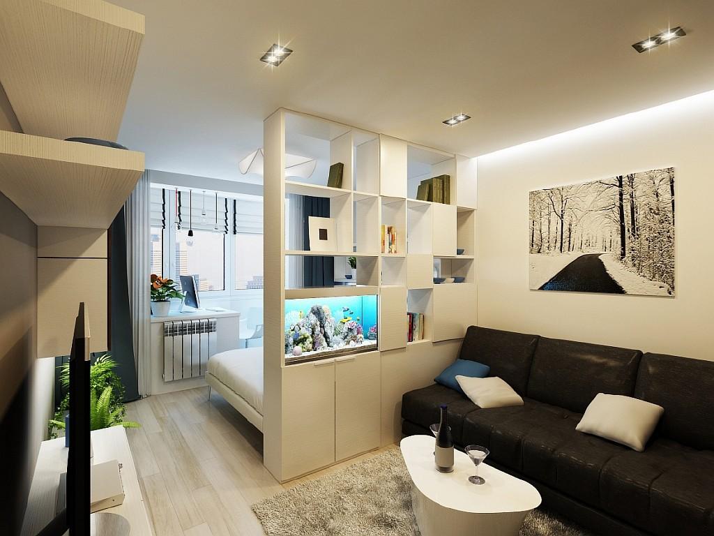 Дизайн интерьера спальни-гостиной 20 кв.м