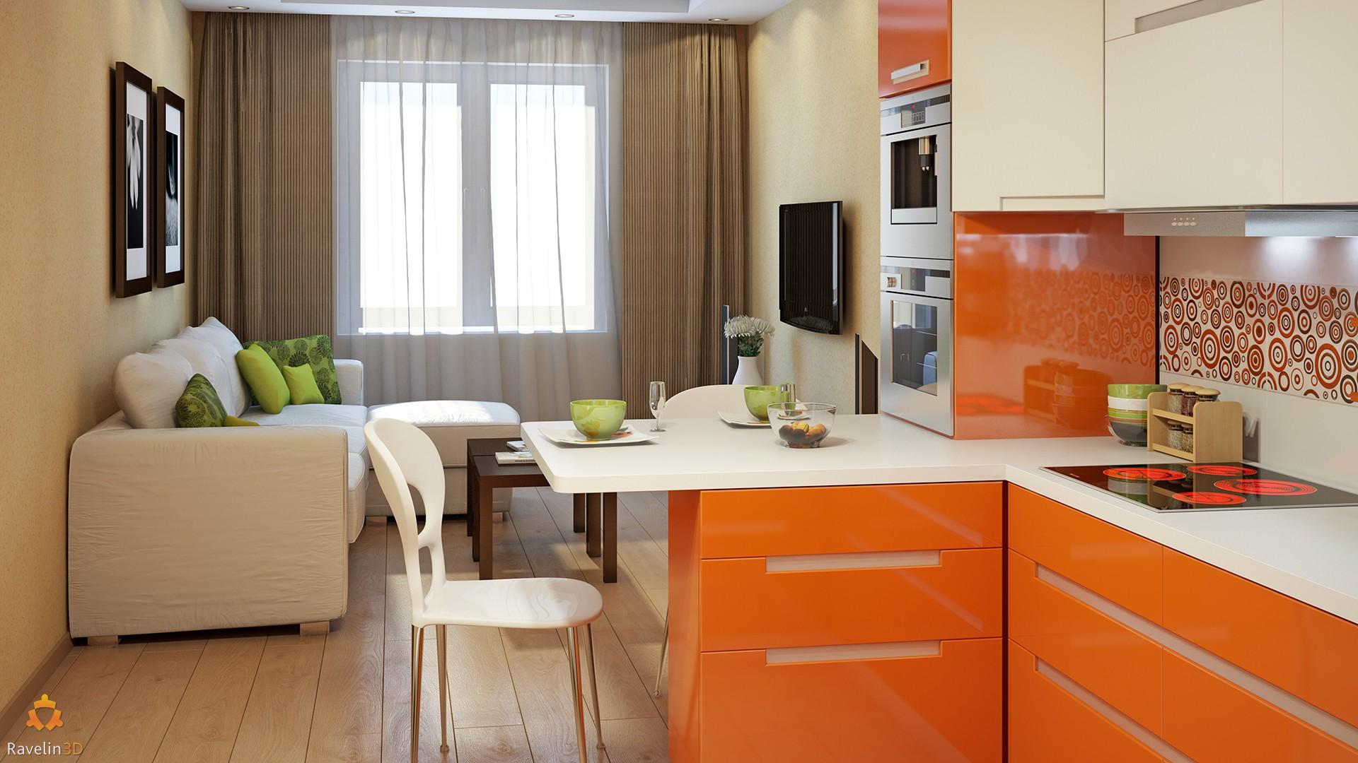 Дизайн интерьер кухни-гостиной 18 кв. м