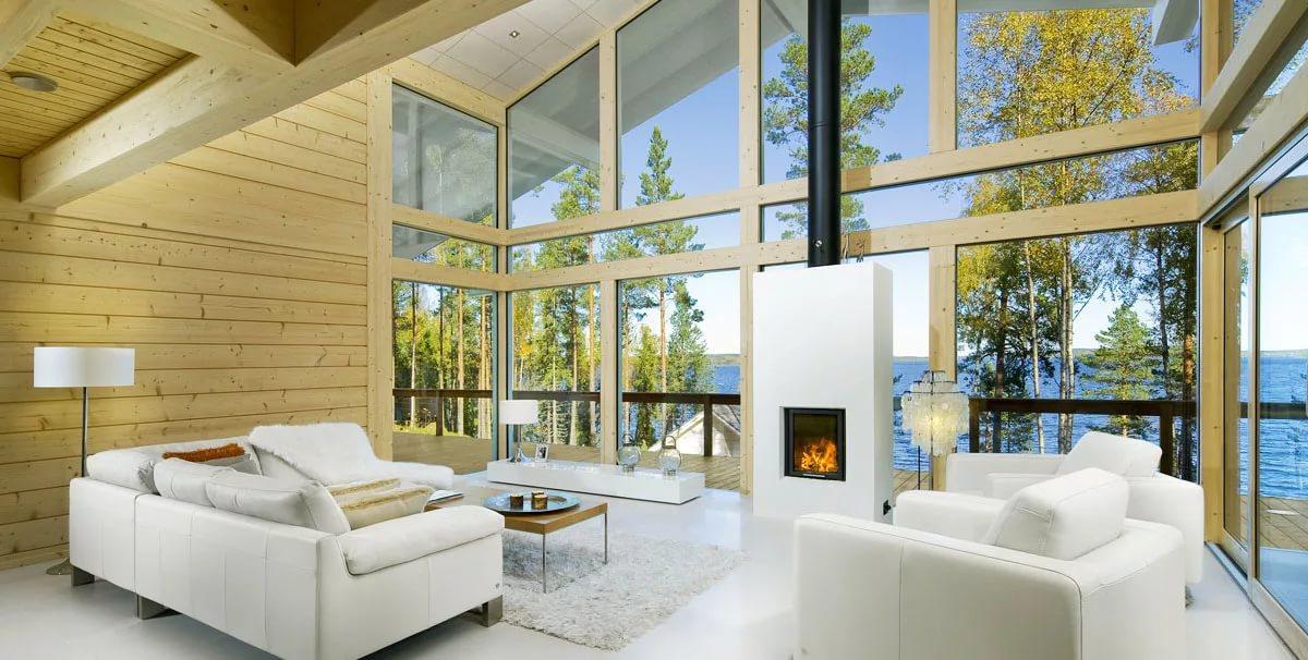 Дизайн и размещение мебели на мансарде деревянного дома