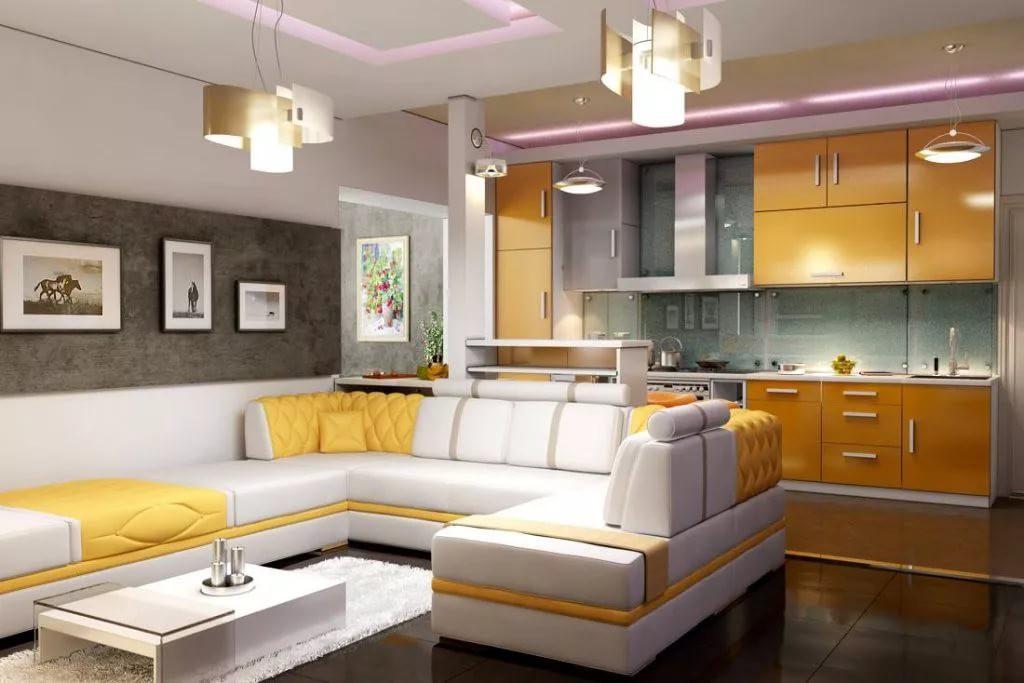 Дизайн кухни-гостиной 20 кв.м