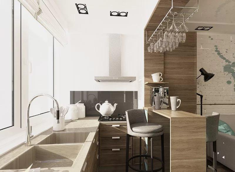 Дизайн кухни объединенной с балконой