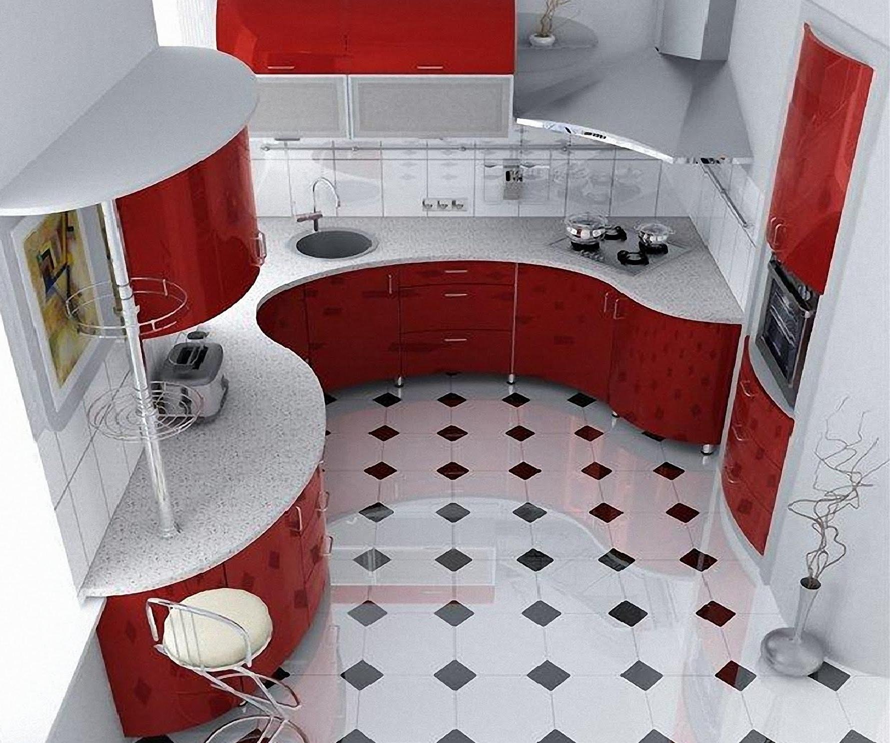 Дизайн кухни 6 кв.м. в красно-белых тонах