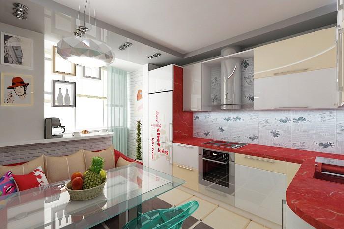 Дизайн кухни 9 кв. м. объединеной с балконом