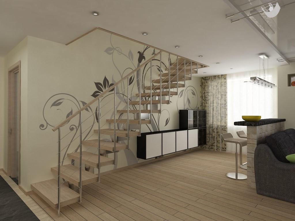 Дизайн лестницы в двухуровневой квартире