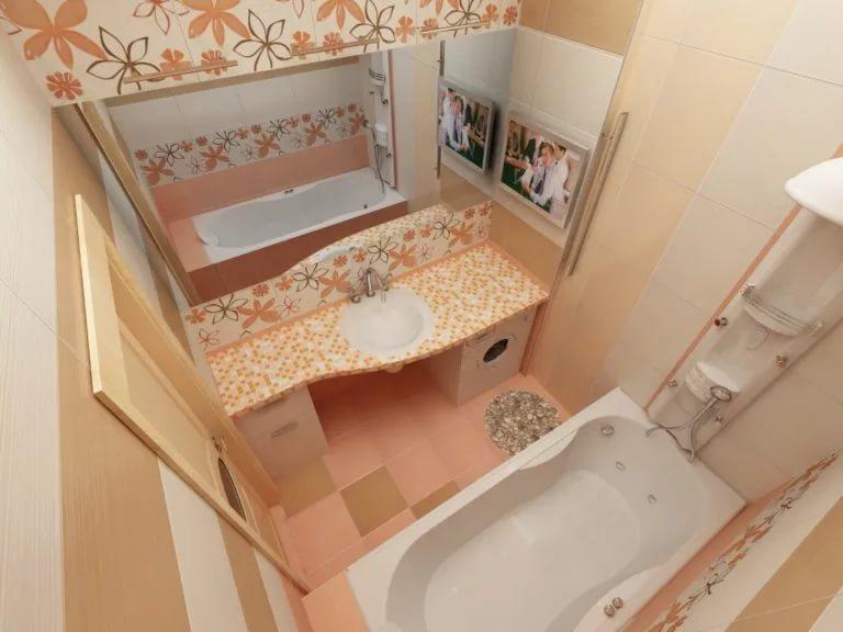 Дизайн маленькой ванной в розовых тонах