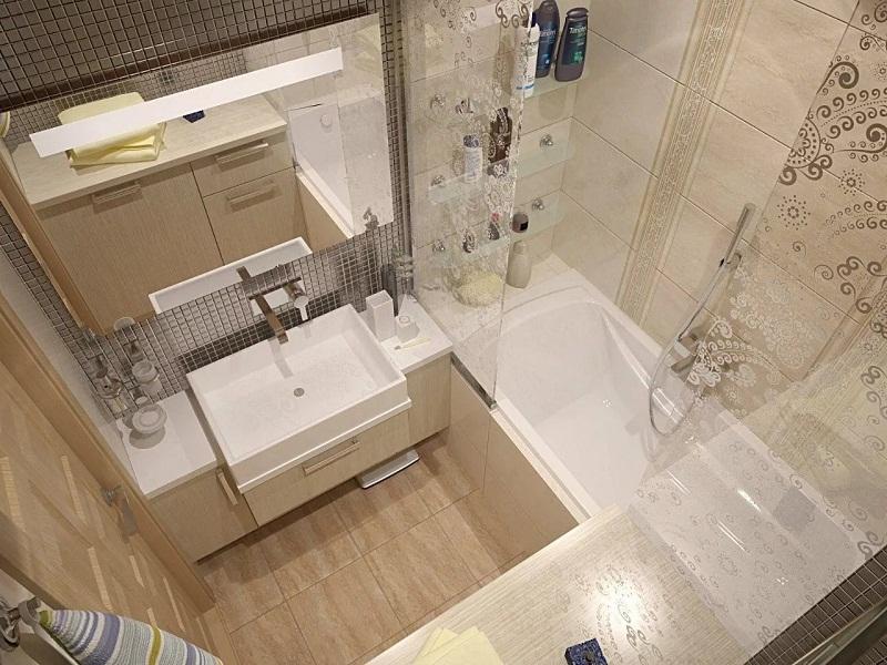 Дизайн маленькой ванной светлых тонов