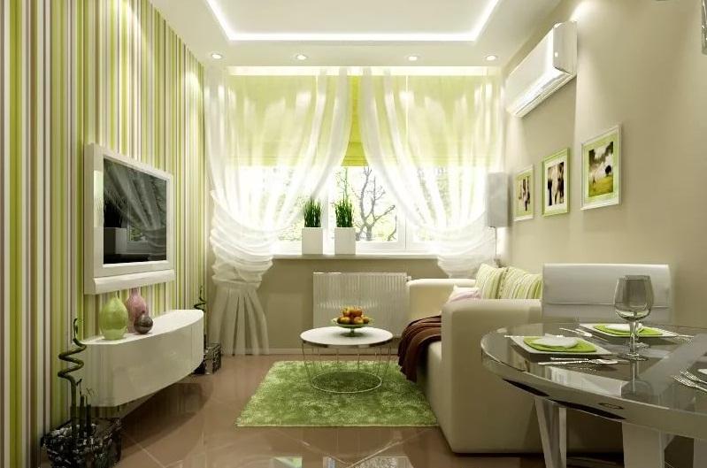 Дизайн маленькой гостинной в зеленых тонах