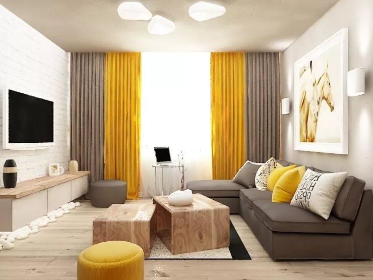Дизайн маленькой гостинной в серо-желтых тонах