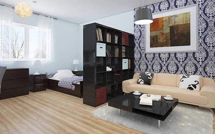 Дизайн однокомнатной квартиры в сине-голубых тонах