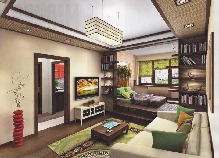 Дизайн однокомнатной квартиры в японском стиле