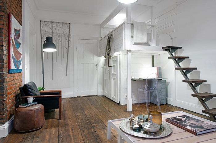 Дизайн однокомнатной квартиры со спальней на втором ярусе
