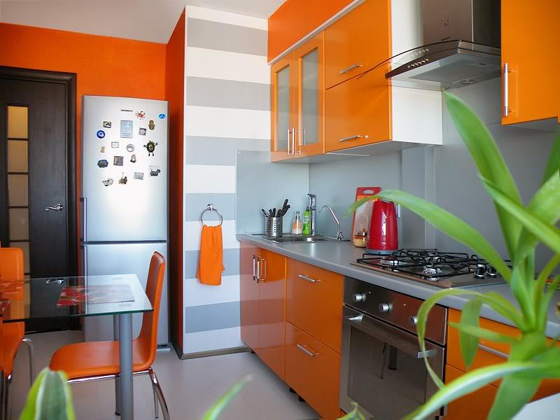 Дизайн орнжевой кухни