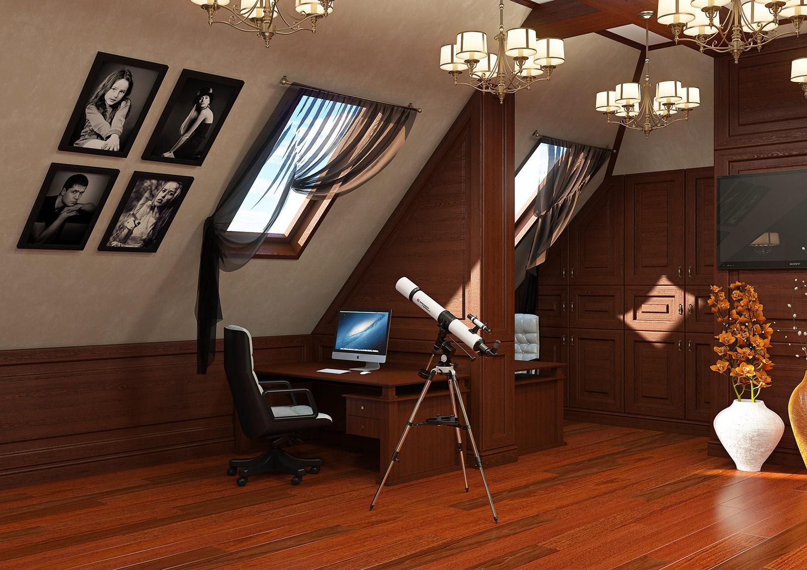 Дизайн рабочего кабинета на мансарде котеджа