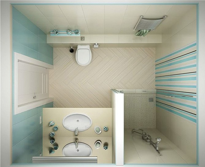 Дизайн санузла с душем и унитазом в светлях тонах