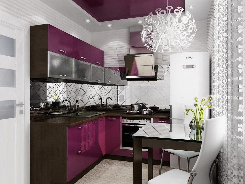 Дизайн светлой кухни 6 кв.м с контрастной мебелью