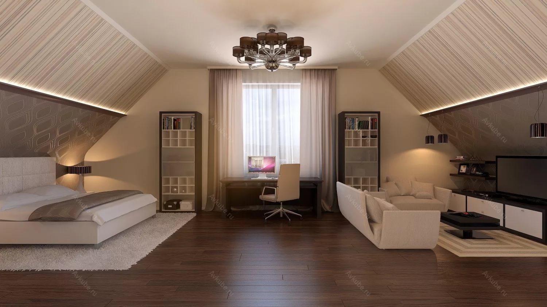 Дизайн спальни на мансарде котеджа