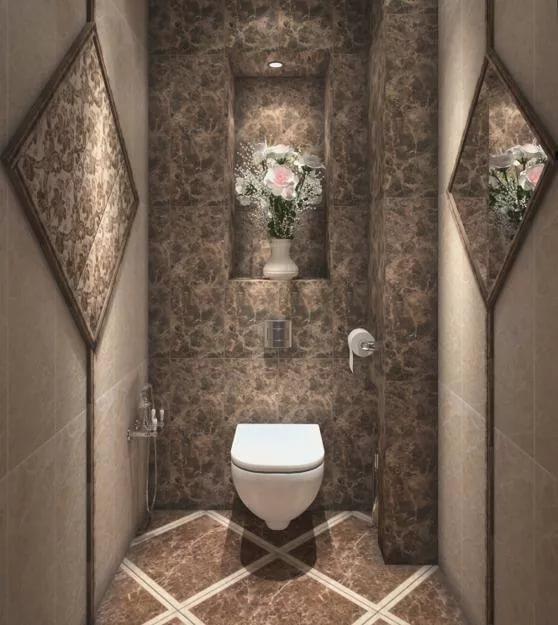 Дизайн туалета с декорированием
