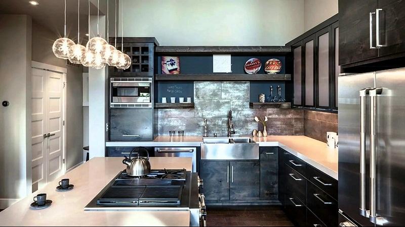Дизай кухни с П-образным размещением мебели