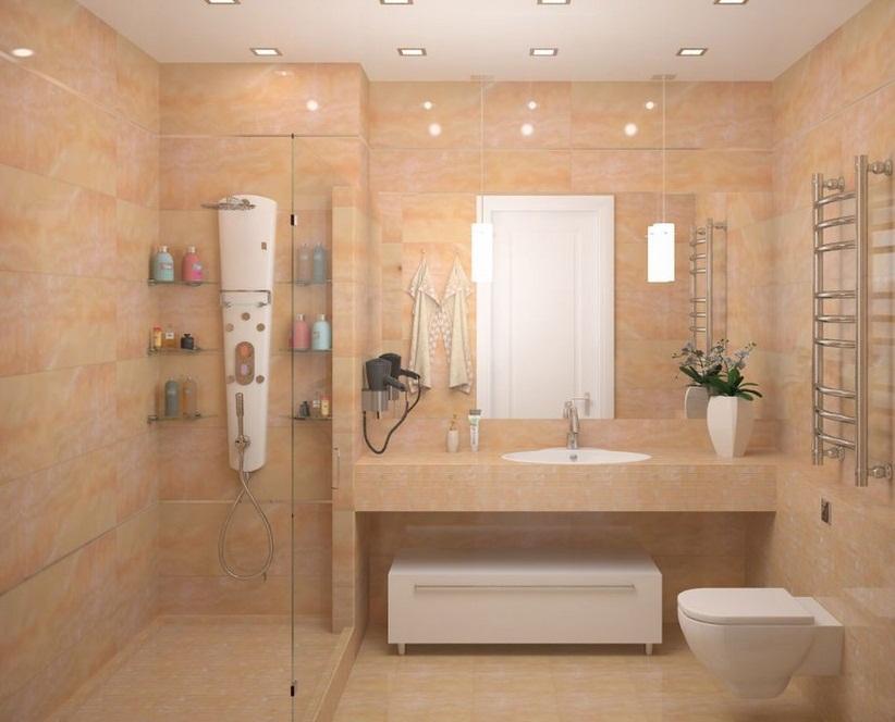 Душ и туалет в розовых тонах