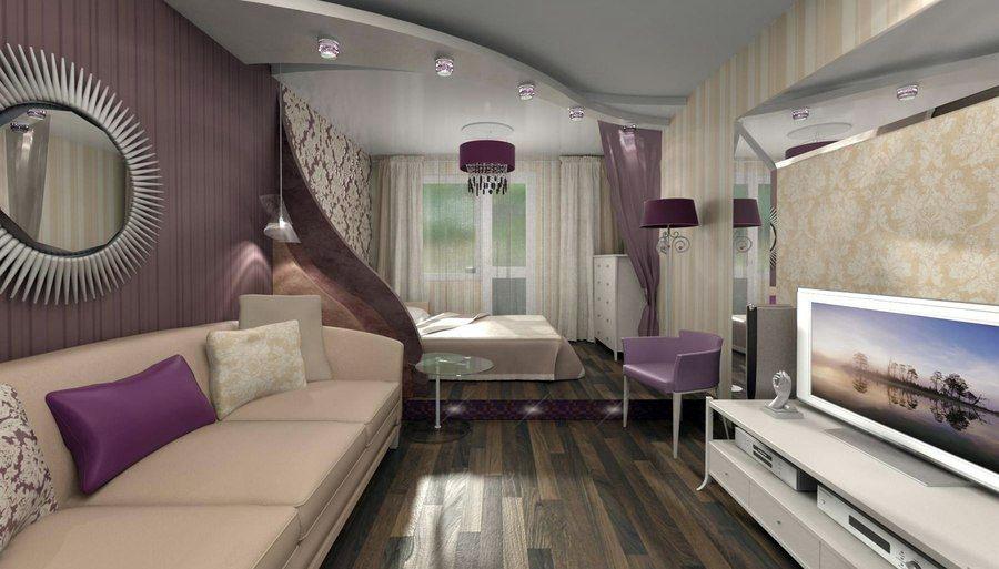 Зона спальни на подиуме в совмещенной гостиной