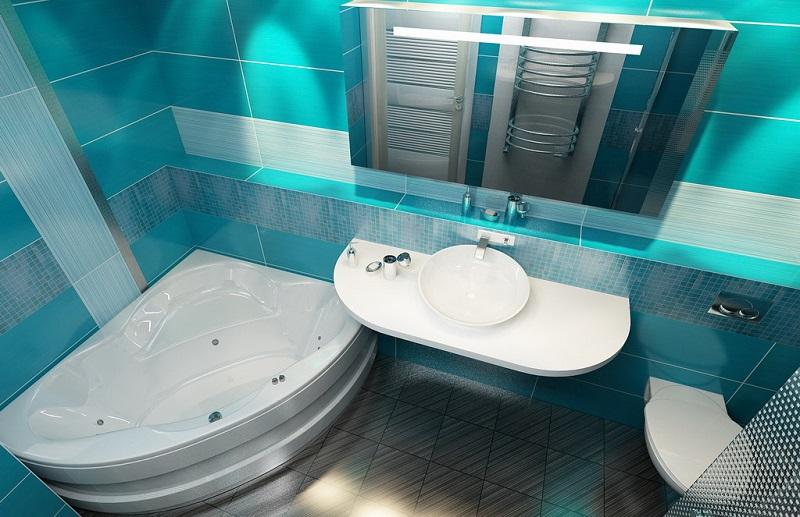 Зонирование ванны с туалетом