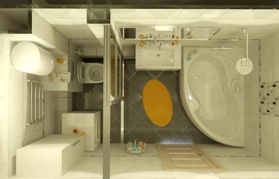 Зонирование в ванной в хрущевке